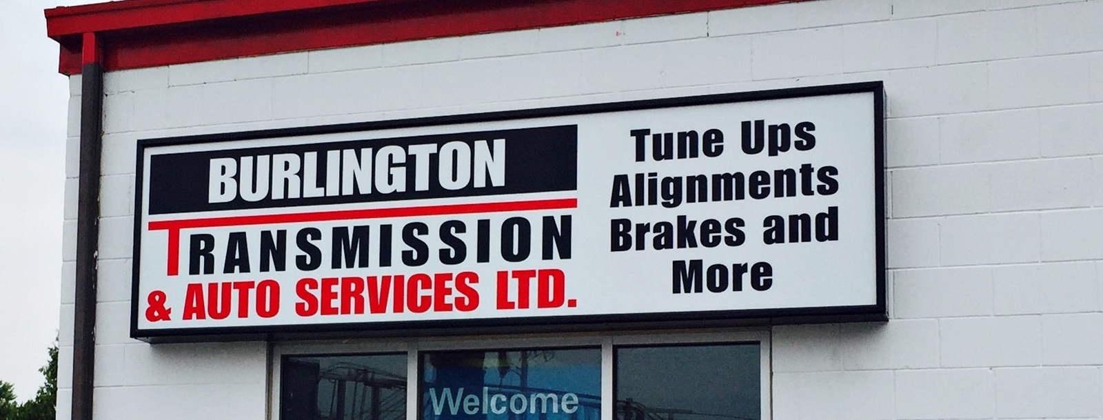 Burlington Transmission installed sign
